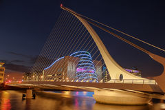 Samuel Beckett bridge.  Dublin. Ireland. Samuel Beckett bridge at night. Dublin. Ireland Stock Photography