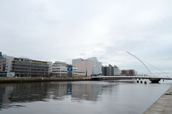 Samuel Beckett Bridge and The Convention Centre by The River Liffey in Dublin, Ireland. The Samuel Beckett Bridge and The Convention Centre by The River Liffey stock images