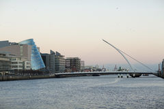 The Samuel Beckett Bridge crosses the Liffey River Stock Photo
