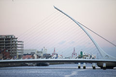 The Samuel Beckett Bridge crosses the Liffey River. Royalty Free Stock Images