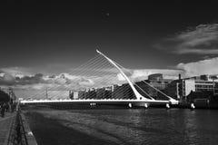 Samuel Beckett Bridge, Dublin (Black and White) Royalty Free Stock Images