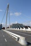 Samuel Beckett Bridge. The Samuel Beckett Bridge in Dublin Docklands area (Ireland). Designer: Santiago Calatrava Stock Photos