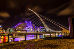 Samuel Beckett Bridge. Dublin Docklands at night Royalty Free Stock Photo