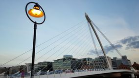 Samuel Beckett Bridge in Dublin. Evening light at the iconic Samuel Beckett bridge across the Liffey in Dublin, Ireland royalty free stock photo