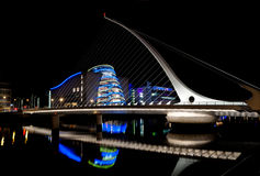 Samuel Beckett Bridge, Dublin, Ireland. Pointing to Dublin Convention Center, at nighttime, on 23/08/2011 Royalty Free Stock Photo