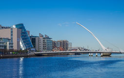 Samuel Beckett Bridge, Dublin, Ireland. DUBLIN, IRELAND - 14 APRIL 2015: Samuel Beckett Bridge crossing the River Liffey in Dublin, Ireland Royalty Free Stock Photos
