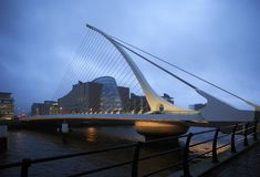 Samuel Beckett Bridge in Dublin. Dublin, Ireland - August 28, 2014: Samuel Beckett Bridge in Dublin Royalty Free Stock Image