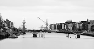 Samuel beckett bridge Dublin Ireland. Black & white view of Samuel Beckett Bridge in Dublin Stock Photo