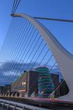Samuel Beckett Bridge - Dublin - Ireland. The Samuel Beckett Bridge and the building on the waterfront near the Convention Center - Dublin city center in the royalty free stock photography