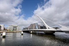 Samuel Beckett bridge in Dublin,Ireland. Samuel Beckett Bridge is a cable-stayed bridge in Dublin that joins  River Liffey to Guild Street and North Wall Quay in Stock Photo