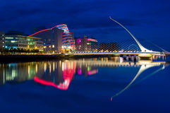 Samuel Beckett Bridge in Dublin, Ireland. The Samuel Beckett Bridge is a cable-stayed bridge in Dublin that joins the south side to the North Wall Quay in the stock photos