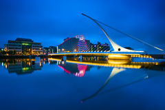 Samuel Beckett Bridge in Dublin, Ireland. The Samuel Beckett Bridge is a cable-stayed bridge in Dublin that joins the south side to the North Wall Quay in the Royalty Free Stock Photos