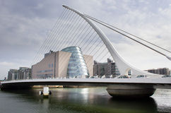 Samuel Beckett Bridge, Dublin, Ireland. The Samuel Beckett bridge in Dublin, with The Convention Centre in background Stock Images
