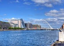 The Samuel Beckett Bridge in Dublin, Ireland. DUBLIN, IRELAND - MAY 30, 2017: The Samuel Beckett Bridge over the river Liffey royalty free stock image