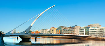 The Samuel Beckett Bridge in Dublin, Ireland. DUBLIN, IRELAND - FEBRUARY 4, 2017: Panoramic image of The Samuel Beckett Bridge in Dublin, panoramic image Stock Image