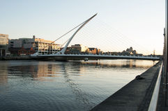 Samuel Beckett Bridge, Dublin - Ireland. Samuel Beckett Bridge (Irish: Droichead Samuel Beckett) is a cable-stayed bridge in Dublin that joins Sir John Rogerson' Royalty Free Stock Photo