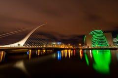 The Samuel Beckett Bridge. Dublin, Ireland - 8 Jan 2017:    The Samuel Beckett Bridge on the River Liffey in Dublin, Ireland. Docklands Stock Image