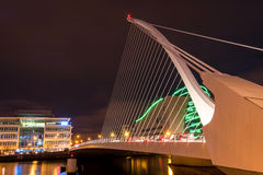 The Samuel Beckett Bridge. Dublin, Ireland - 8 Jan 2017: The Samuel Beckett Bridge on the River Liffey in Dublin, Ireland. Docklands royalty free stock images