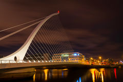 The Samuel Beckett Bridge. Dublin, Ireland - 8 Jan 2017: The Samuel Beckett Bridge on the River Liffey in Dublin, Ireland. Docklands royalty free stock photos
