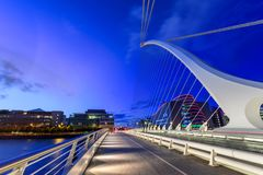 Samuel Beckett Bridge Dublin Ireland. The Samuel Beckett Bridge is the newest bridge to cross the River Liffey in Dublin, Ireland. The modern structure is curved stock image