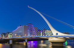 The Samuel Beckett Bridge in Dublin, Ireland. Which was designed by Santiago Calatrava, also showing the National Convention Centre in the Background Stock Image