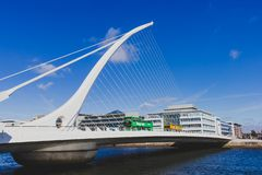 The Samuel Beckett bridge in Dublin over the river Liffey. DUBLIN, IRELAND - September 26th, 2018: the Samuel Beckett bridge in Dublin over the river Liffey stock photos