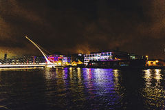 The Samuel Beckett bridge and Dublin`s docklands on the river Li. DUBLIN, IRELAND - Septembter 26th, 2016: View over the Samuel Beckett bridge and Dublin`s Stock Photo