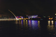 The Samuel Beckett bridge and Dublin`s docklands on the river Li. DUBLIN, IRELAND - Septembter 26th, 2016: View over the Samuel Beckett bridge and Dublin`s Stock Image