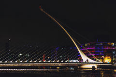 The Samuel Beckett bridge and Dublin`s docklands on the river Li. DUBLIN, IRELAND - Septembter 26th, 2016: View over the Samuel Beckett bridge and Dublin`s Royalty Free Stock Photography