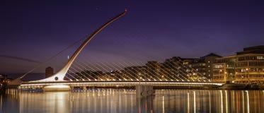 Samuel Beckett Bridge-Gasthaus Dublin an der Dämmerung Lizenzfreie Stockbilder
