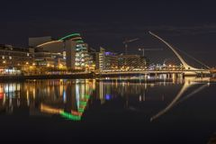 Samuel Beckett Bridge at night. In Dublin royalty free stock photography