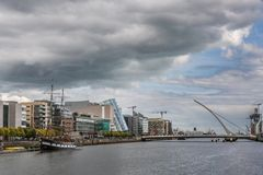 Samuel Beckett bridge over Liffey River, Dublin Ireland. Royalty Free Stock Photography