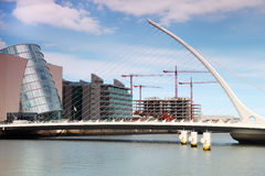 Samuel Beckett Bridge over River Liffey at day Royalty Free Stock Photography