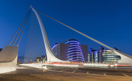 The Samuel Beckett Bridge. Over the river Liffey, Dublin showing the National Convention Centre in the background stock image