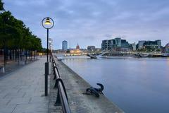 Samuel Beckett Bridge and River Liffey Royalty Free Stock Photos