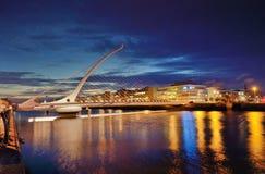 Samuel Beckett Bridge and the river Liffey stock photography