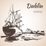Samuel Beckett most z dużym statkiem, Dublin, Irlandia royalty ilustracja