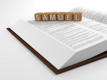 Samuel and the Bible. The name samuel placed on top of the Bible Royalty Free Stock Photo
