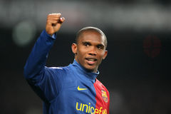 Samuel Eto'o Celebrating goal. BARCELONA, SPAIN - JANUARY 24: Cameroonian player Samuel Eto'o of Barcelona celebrates scoring his sides second goal during the Royalty Free Stock Image