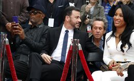 Samuel L. Jackson, Jimmy Kimmel, Brian Grazer and Lisa Parigi. At Lionel Richie Hand And Footprint Ceremony held at the TCL Chinese Theatre in Hollywood, USA on Royalty Free Stock Photography