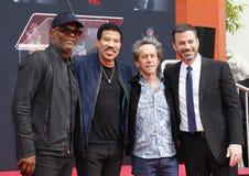 Samuel L Jackson, Lionel Richie, Jimmy Kimmel et Brian Grazer photo stock