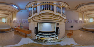 Samuel Maetz Pipe Organ in Cluj-Napoca, Romania. 360 panorama of a pipe organ built by Samuel Maetz in the Gheorghe Dima Music Academy in Cluj-Napoca, Romania Royalty Free Stock Photography