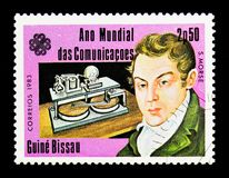 Samuel Morse, World Communications Year serie, circa 1983. MOSCOW, RUSSIA - DECEMBER 21, 2017: A stamp printed in Guinea-Bissau shows Samuel Morse, World royalty free stock photo