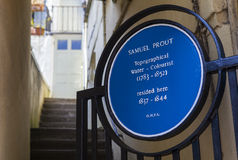 Samuel Prout Blue Plaque in Hastings Stock Photo