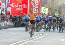 Samuel Sanchez wins the race. BARCELONA, SPAIN - MARCH 24: Samuel Sanchez of Euskaltel Team wins the 6th stage of the Volta a Catalunya cycling race, on March 24 Stock Photos