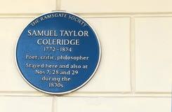 Samuel Taylor Coleridge blue plaque. Poet Samuel Taylor Coleridge blue plaque in Ramsgate Stock Photos
