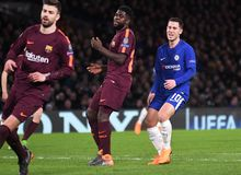 Samuel Umtiti and Eden Hazard. Football players pictured during the UEFA Champions League Round of 16 game between Chelsea FC and FC Barcelona held on February Stock Photography