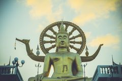 Samui big buddha gold statue on sky background in Stock Images