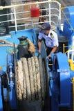 SAMUI-EILAND MEI-28: De boten aan het eiland en de werknemer is om op het eiland te dokken bereid kunnen 28, 2015 in Suratthani T Stock Afbeeldingen