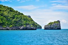 Beautiful seascape of Thailand sea and island of Samui, one of the most famous tourist vacation destination Stock Photos